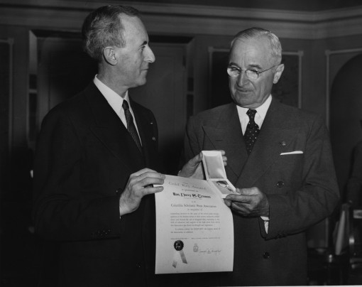 1952 Col. Joseph M. Murphy awarding President Harry S. Truman the CSPA Gold Key.