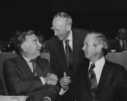 1974 Walter Cronkite greeting Col. Joseph M. Murphy and Charles R. O'Malley during the CSPA convention luncheon.