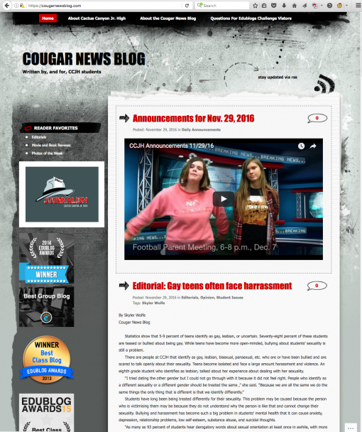 Cougar News Blog | cougarnewsblog.com, Cactus Canyon Junior High School, Apache Junction, AZ.