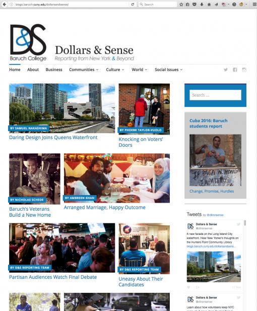 Dollars & Sense | blogs.baruch.cuny.edu/dollarsandsense/, Baruch College, New York, NY.