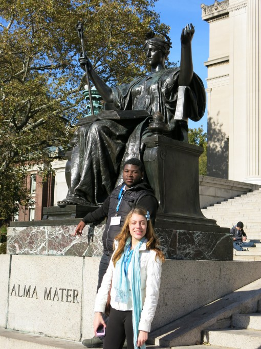 At the 2013 CSPA Fall Conference, students pose by Columbia's Alma Mater, sculpted by Daniel Chester French. Photo by Emerald Gearing.