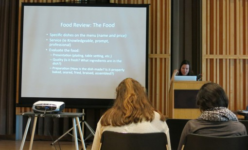 At the 2013 CSPA Fall Conference, Lauren Mack from New York, NY, presents how to write about food and reviews. Photo by Emerald Gearing.