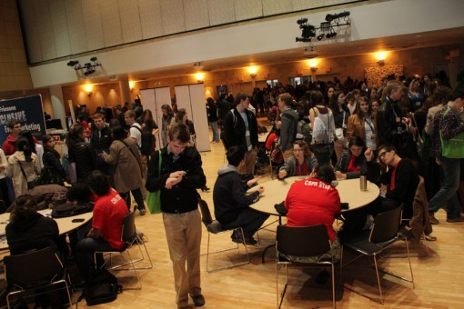 Students gather in the registration hall before going to out to session on campus.