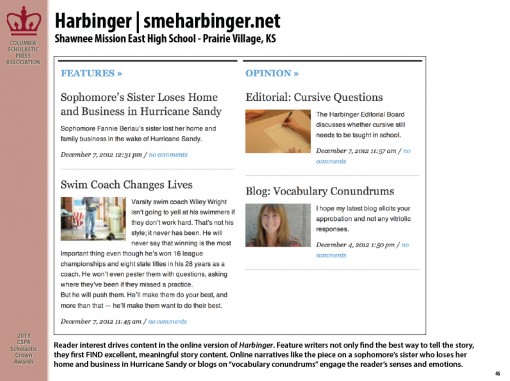 Harbinger | smeharbinger.net, Shawnee Mission East High School, Prairie Village, KS