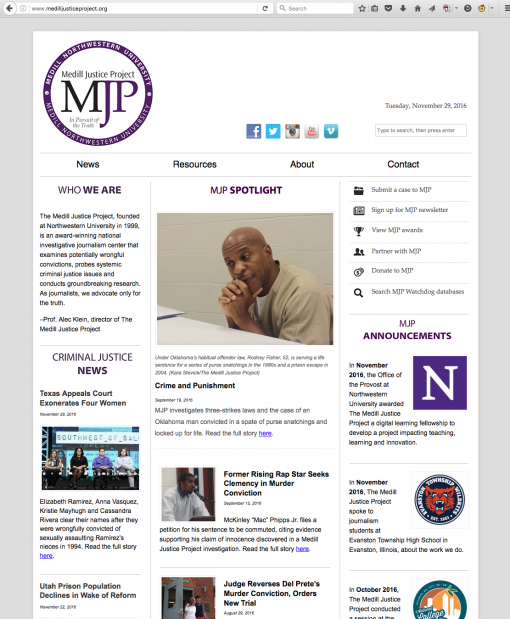 The Medill Justice Project | medilljusticeproject.org, Northwestern University, Evanston, IL.