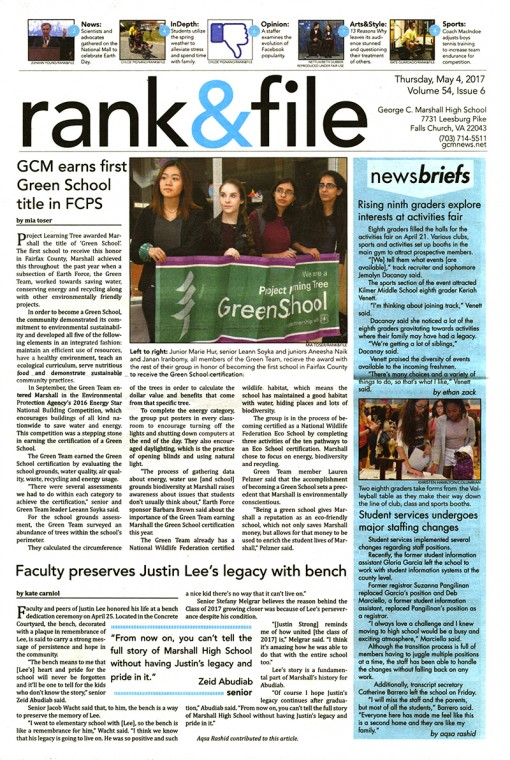 Rank & File, George C. Marshall High School, Falls Church, VA