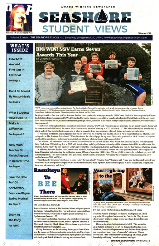 Seashore Student News-The Seashore School
