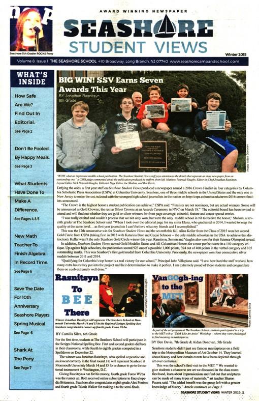 Seashore Student News-The Seashore School