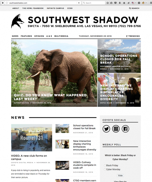 Southwest Shadow | southwestshadow.com, Southwest Career and Technical Academy, Las Vegas, NV.