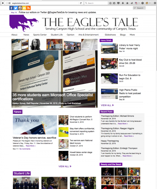 The Eagle's Tale | eaglestaleonline.com, Canyon High School, Canyon, TX.