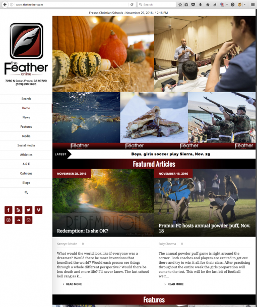 The Feather Online | thefeather.com, Fresno Christian High School, Fresno, CA.