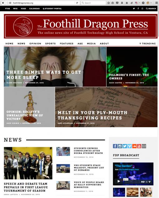 The Foothill Dragon Press | foothilldragonpress.org, Foothill Technical High School, Ventura, CA.