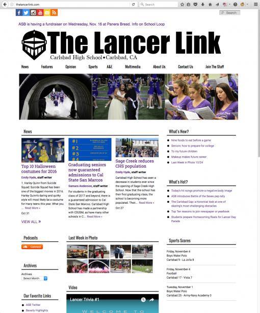 The Lancer Link | thelancerlink.com, Carlsbad High School, Carlsbad, CA.