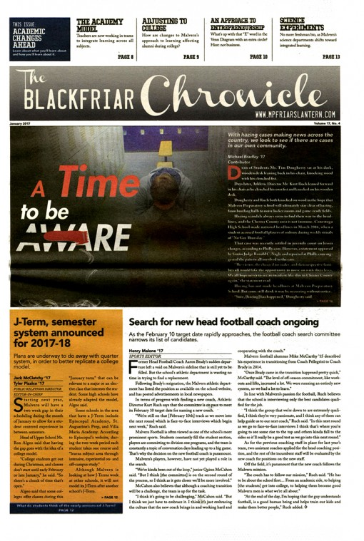The Blackfriar Chronicle | lantern.news, Malvern Preparatory School, Malvern, PA