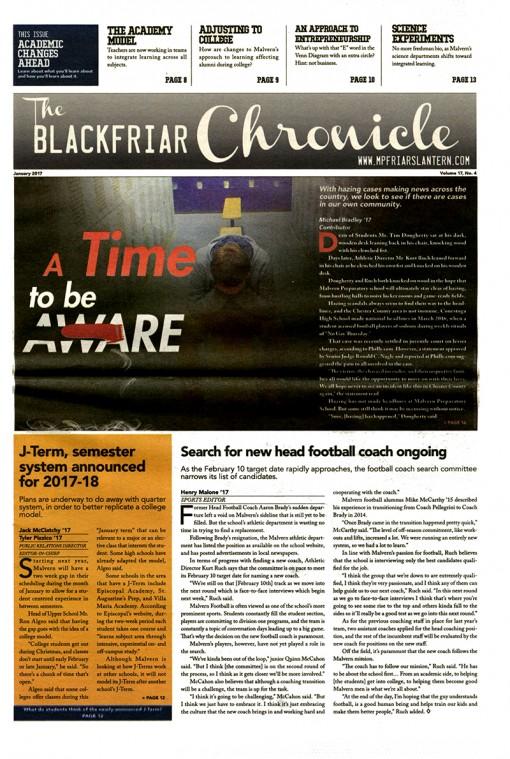 The Blackfriar Chronicle | lantern.news, Malvern Preparatory School, Malvern, PA