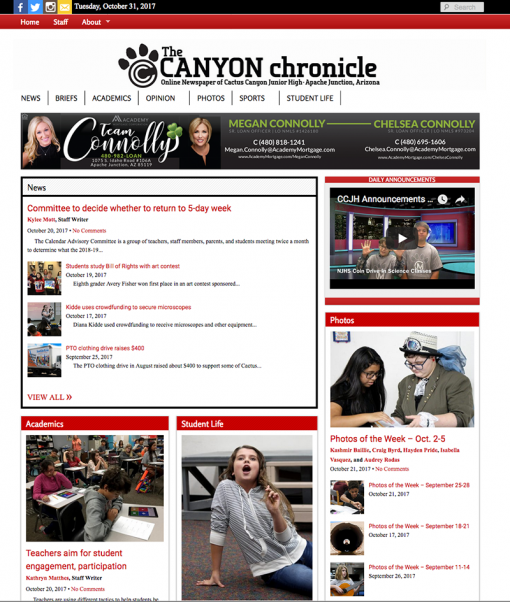 Canyon Chronicle | canyonchronicle.com, Cactus Canyon Junior High School, Apache Junction, AZ