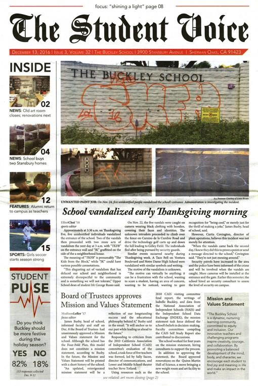 The Student Voice, The Buckley School, Sherman Oaks, CA