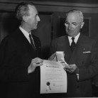 1952 Col. Joseph M. Murphy awarding President Harry S. Truman the CSPA Gold Key.