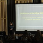 Ana Rosenthal teaches students how to write headlines. Photo by Antonio Rodriguez.