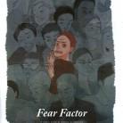 "2015 Gold Circle High School Newspaper N19. Art/illustration: Hand-drawn — First place Vivian Lin, ""Fear Factor,"" The Chronicle, Harvard-Westlake, Studio City, CA."