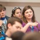 A student asks the speaker questions during a session at the 2014 High School Convention. Photo by Alan Murray.